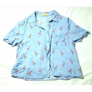 Love Notes Flamingo Print ShortSleeve Button Down
